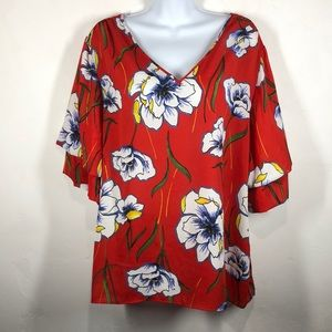 NY Collection red floral blouse size large